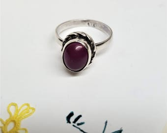 Vintage  October Birthstone Torumaline Pink Promise Ring 925 Sterling Silver Signed Love in Pink is a natural Gemstone size 7