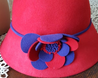 Wool CLOCHE Lady in Red Vintage 1990's  Hat With Purple and Red Wool Handmade Flowers Bouquet Decor Art Super Fancy