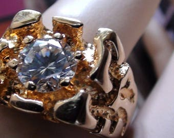 Thumb Ring or Men Ring Modernist Ring 2ct + Cz Diamond Brilliant and 18Kt HGE  Vintage  Size 10  Excellent Condition