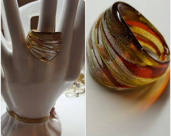 "Modernist Murano Glass Italy  Art Glass Ring Size 8 Wide 1 1/8"" Front Gold foil Excellent Condition from 1990s one of this kind"