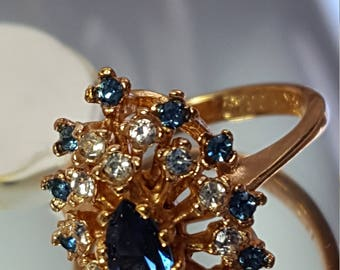 Cocktail Cluster Vintage Ring  Elegant Blue Sapphire Cz and Ice Clear Crystals 18k Gold HGE  Plated Pristine Size  6