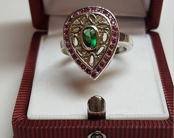 Ring Royal Vintage Cocktail  Crystal Emerald Ring Huge  925 Sterling Excellent condition Size 8 Ruby and Emerald Austrian Crystals