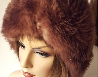 "Gorgeous 1950s Fluffy Italian Lamb Hat Shearling Hats Winter Warm made in Italy Great condition Medium size 23"" diam"