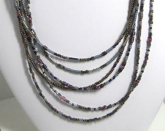 Denim/Plum/Bronze Multi-Strand Necklace
