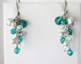 Sweet Dangling silver earrings  with blue beads and white pearl accents (C1)