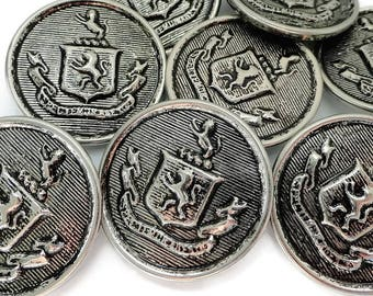 Lion Vintage Metal Buttons - 8 Antique Silver Finish 1 1.8 inch 27mm for Coat Blazer Knitting Sewing