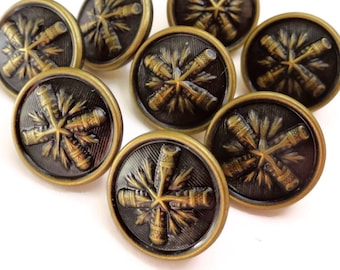 12 Vintage Metal Buttons - Nice Quality Antique Gold Finish 5/8 inch 13mm for Jewelry Beads Sewing Knitting Blazer Sleeves