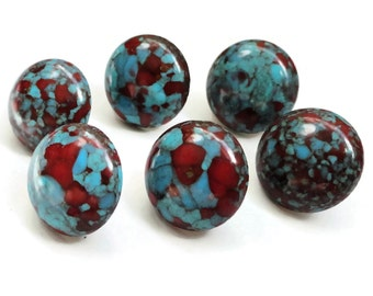 Turquoise Red Buttons Handmade from Vintage Cabochons - 6 Small 1/2 inch 12mm for Sewing Knitting Jewelry Beads