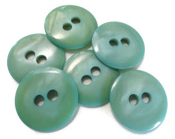 Seafoam Vintage Buttons - 6 Mid Century Sew Through 1 1/8 inch 27mm for Sewing Knitting Coat Blazer Jewelry Supplies
