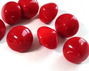 8 Cherry Glass Vintage Butons - Antique 1940s Red for Jewelry Beads Sewing Knitting Your Choice of 13mm or 10mm
