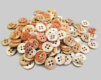 Vintage Abalone Buttons Mother of Pearl from Scarce Red Shell, 4 Hole Shirt Buttons for Sewing, Knitting Sweaters, Jewelry Beads 5/8 inch