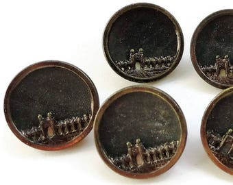 4 Victorian Metal Antique Buttons  Vintage 1800s 1/2 in 12mm for Steampunk Jewelry Beads Sewing Knitting