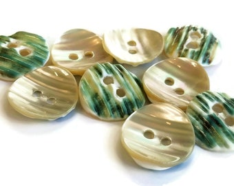 Scarce Green Snail Vintage Buttons, Nice Quality Natural Mother of Pearl, 3/4 or 5/8 inch Shell Buttons for Knitting and Sewing