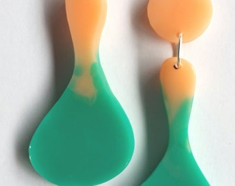 Contemporary Handmade Teal and Peach Hourglass Resin Dangle Earrings