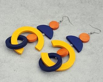 Oversize earrings, extra long earrings, bold earrings, statement wood hoop earrings, gipsy earring, yellow blue orange