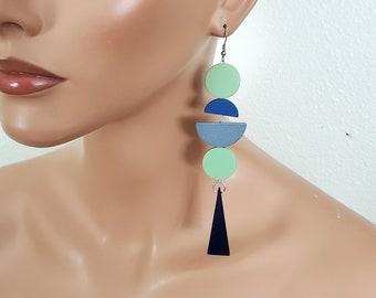 XL extra long earrings, blue green gipsy statement earrings