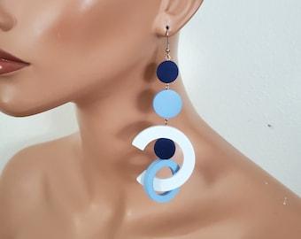 White blue Oversize earrings, big bold statement wood hoop earrings, extra long earrings, gipsy earring