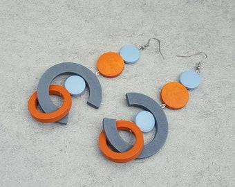 Extra long earrings, Oversized  bold earrings, statement wood hoop earrings,  grey blue orange
