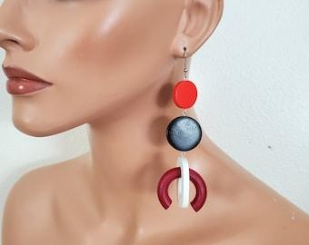 Red black white extra long earrings, Bold earrings, statement wood hoop earrings, oversize earrings, geometric earrings, gypsy earring
