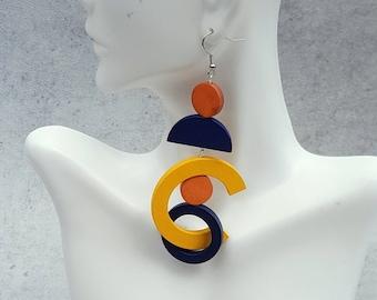 Big statement earrings, extra long earrings, bold earrings, oversize earrings, geometric earrings, gipsy earrings