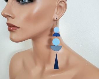 Dark green statement earrings, extra long earrings, wood geometric earrings, bold earrings, gipsy earrings, Art Deco Jewellery