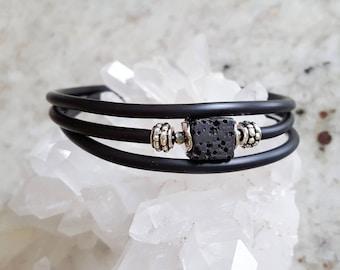 Black Lava bracelet, essential oil diffuser bracelet, Anxiety Relief