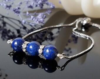 Lapis Lazuli women bolo bracelet navy blue Adjustable Slider Bracelet Energy bracelet  Box Chain Bracelet Tassel bracelet  Gift for sister