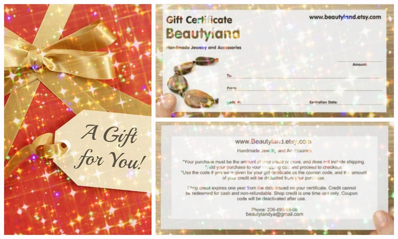 Jewelry Gift Card Last Minute Gift Certificate For Wife Etsy