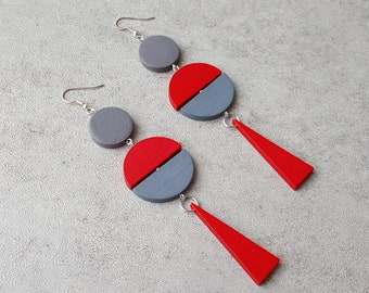 Red statement oversize earrings, extra long earrings,  wood geometric earrings, gipsy earrings, bold earrings