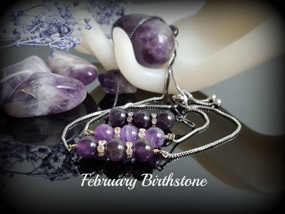 Purple lava bead necklace Essential oil diffuser bolo necklace Anxiety relief Mindfulness gift for women