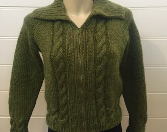 4d7a901e6bb VINTAGE 1950s 50s MOSS GREEN Mohair Wool Knit Top Cardigan