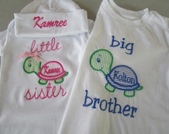 Little Sister Onesie with hat and Big Brother Shirt Turtle Applique Set