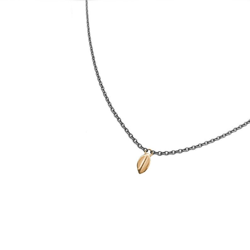 Gold Leaf smpetite 14k yellow gold necklace on sterling image 0