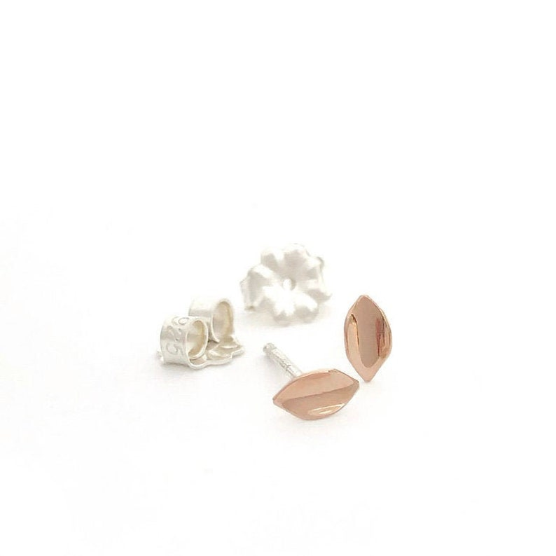 Gold Leafsmall petite 14k rose gold earrings on sterling image 0