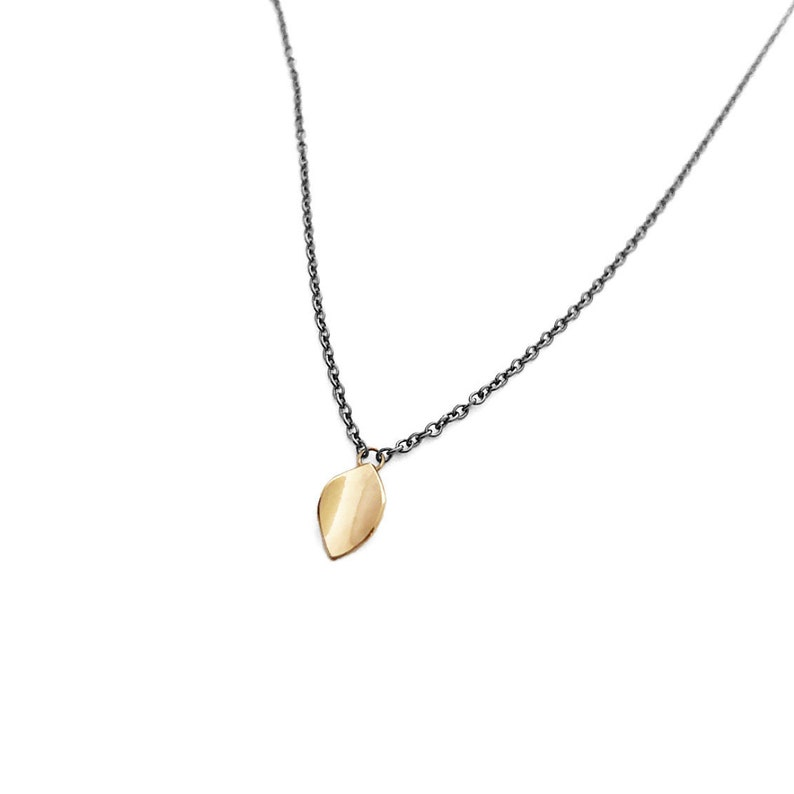 Gold Leaf mdpetite 14k yellow gold necklace on sterling image 0