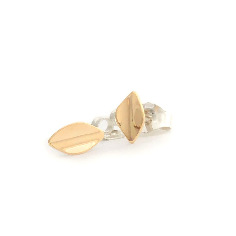 Gold Leafmedium petite 14k yellow gold earrings on sterling image 0