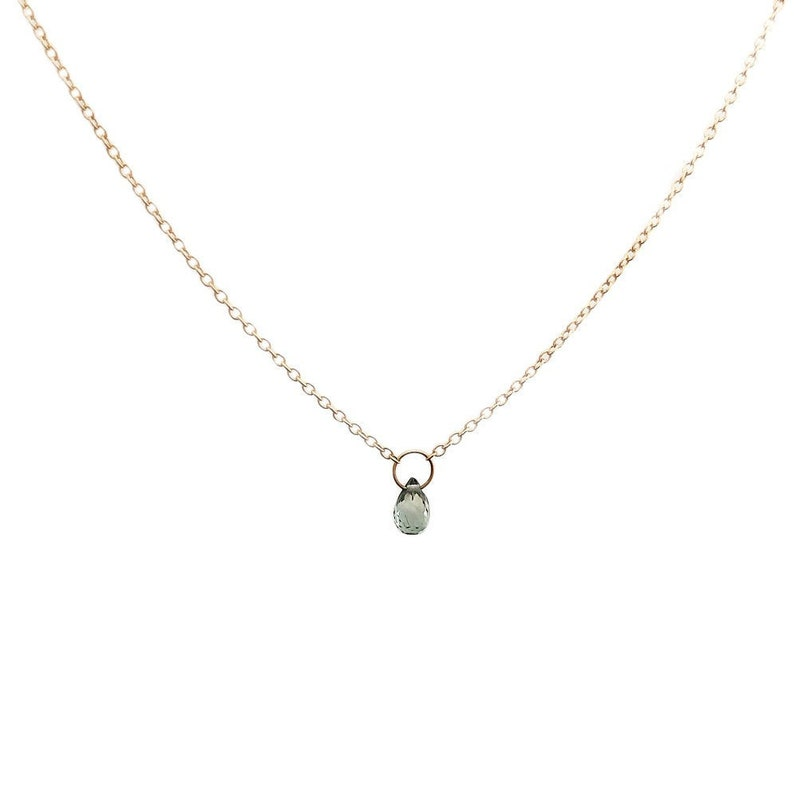 SINGLE SAPPHIRE NECKLACE 14k yellow gold image 0