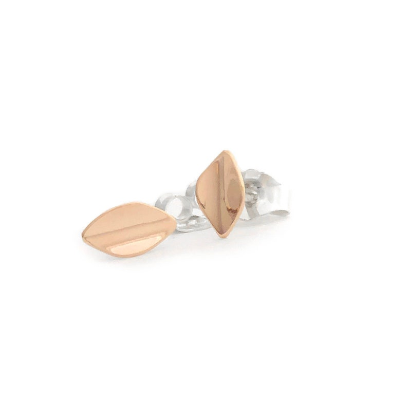 Gold Leafmedium petite 14k rose gold earrings on sterling image 0