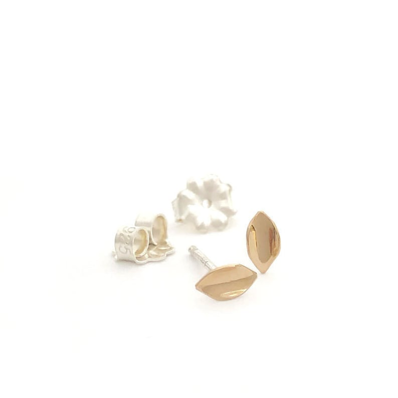 Gold Leafsmall petite 14k yellow gold earrings on sterling image 0