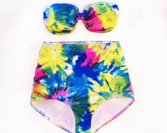 e244121700a46 Tie Dye Bathing Suit High Waisted Bandeau Swimsuit for Women