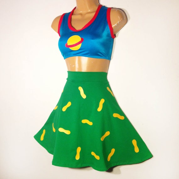 chuckie finster skirt only rugrats peanut skirt womens halloween costume skater skirt