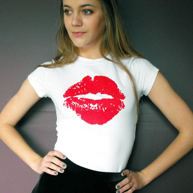 a8acc34cc Screen Printed White With Red Lips Valentines Love Kiss | Etsy