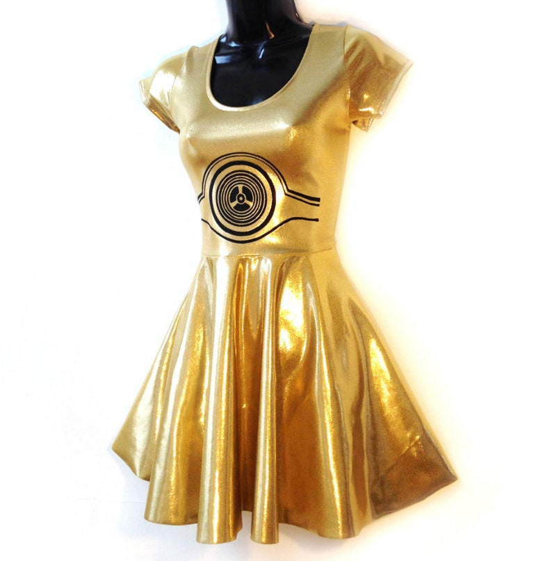 Star Wars C3PO Dress Womens Halloween Costume Droid Cosplay  fab2613a59ad