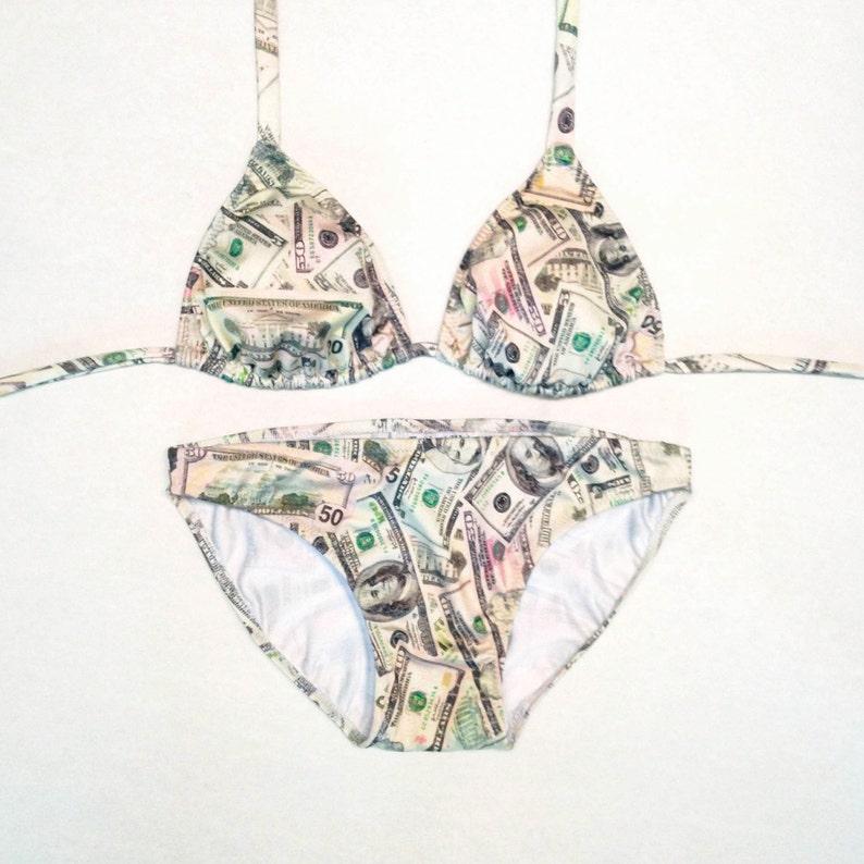 3b10658d25271 Money Print Bikini Top and Bottom // Money Cash Print Bathing | Etsy
