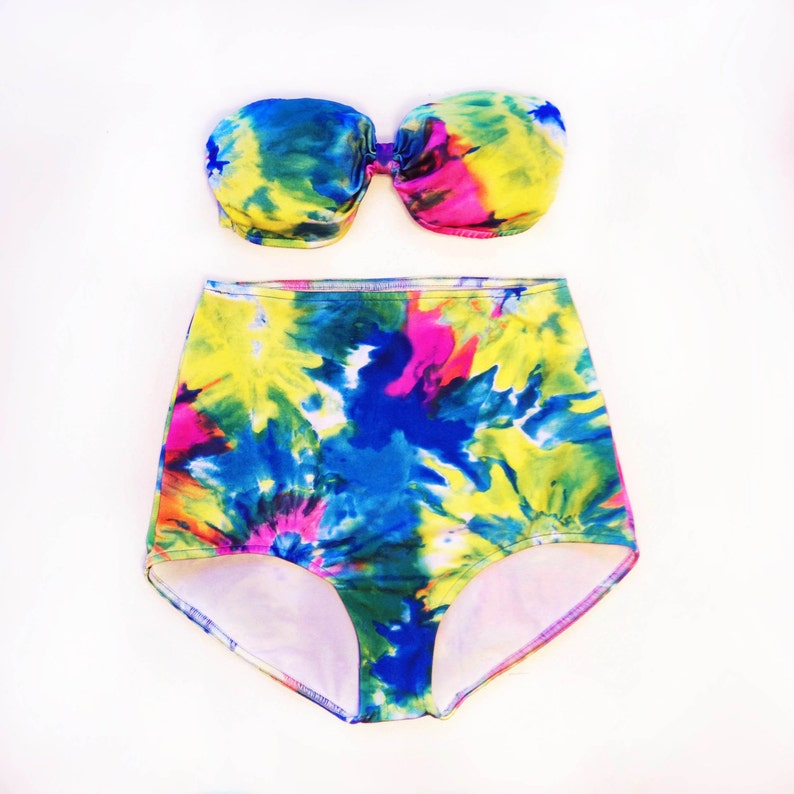 28bbd12bd36 Tie Dye Bathing Suit High Waisted Bandeau Swimsuit for Women | Etsy