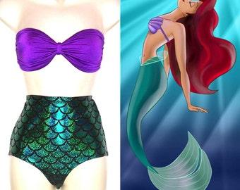 Mermaid Bathing Suit // Mermaid Ariel Strapless Swimsuit for Women MADE TO ORDER