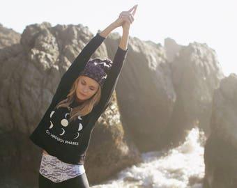 moon phase shirt / moon phase sweatshirt / yoga sweatshirt / bamboo sweatshirt / yoga top / spiritual top / motivational top / yoga wear