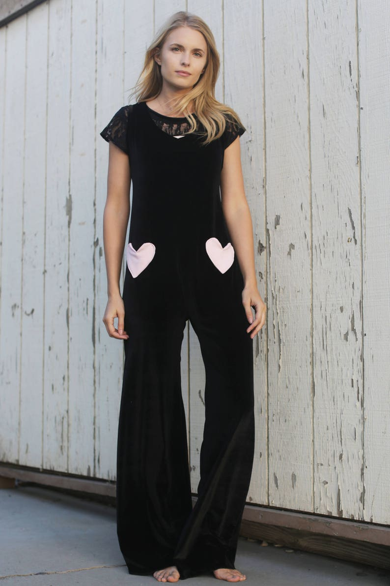 1bb95c020f93d Yoga romper / womens yoga clothes / black velvet jumpsuit /   Etsy