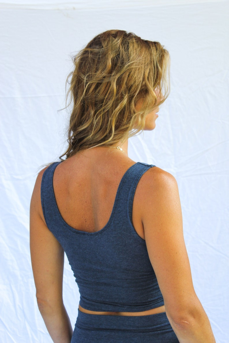 Yoga Top Yoga Shirt Yoga Crop Top Yoga Bra Top Yoga Bra Organic Bra Blue Crop Top Yoga Tank Top Blue Bra Top