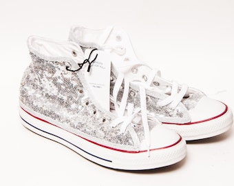 3f925f9d74a8 Ready to Ship - WMNS Size 11 Silver Tiny Sequin Converse® Hi Top Sneakers  Shoes